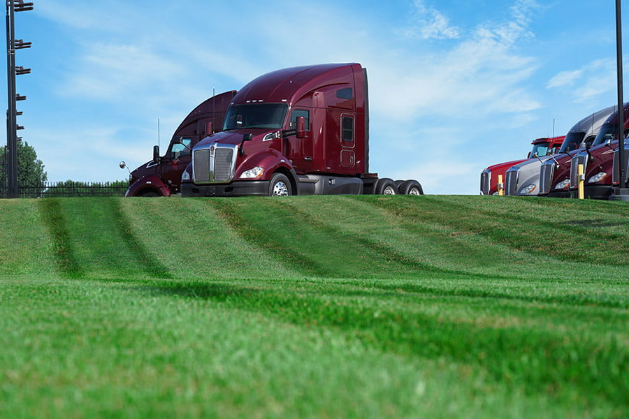 Photo of lawn in front of Kenworth
